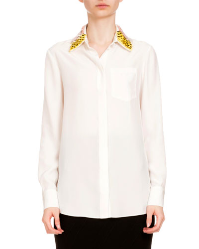 Paillette-Collar Button-Front Blouse, Natural White