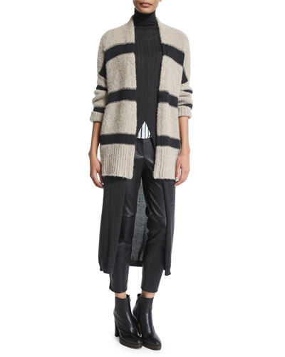 Open-Front Rugby-Striped Cardigan, Sea Salt