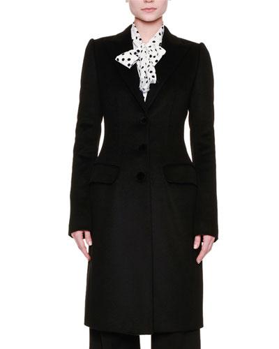 Peak-Lapel Three-Button Long Coat, Black