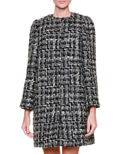 Snap-Front Tweed Topper Coat, Gray/Black/Multi