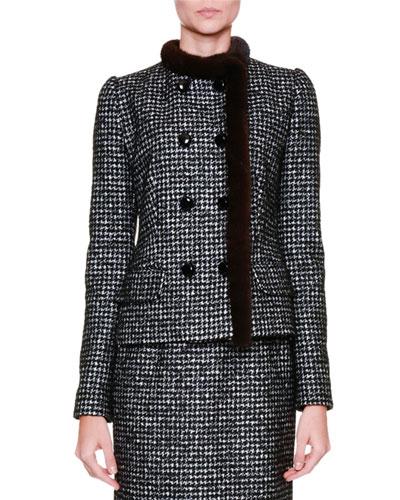 Fur-Trim Snap-Front Jacket, Black/Gray/Multi