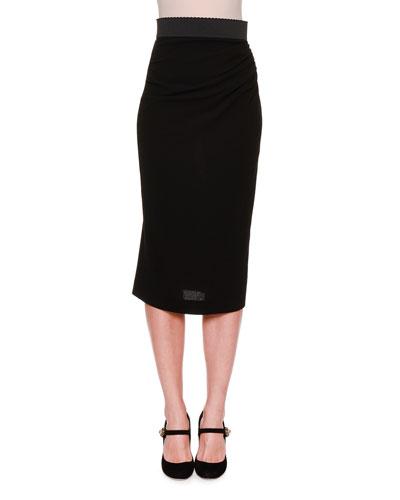 Grosgrain-Waist Pencil Skirt, Black
