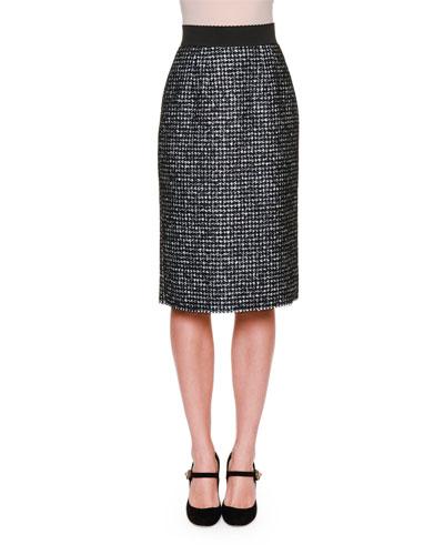 Grosgrain-Waist Slim Skirt, Black/Gray/Multi