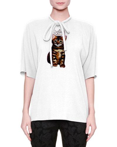 Short-Sleeve Tie-Neck Blouse, White
