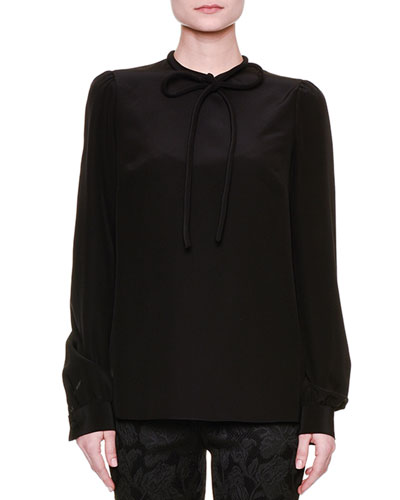 Long-Sleeve Tie-Neck Blouse, Black