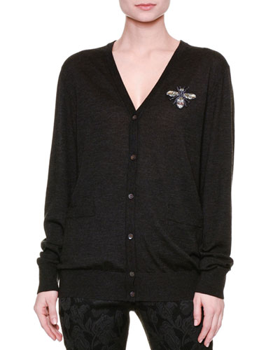 Cashmere Cardigan W/Embellished Brooch, Charcoal