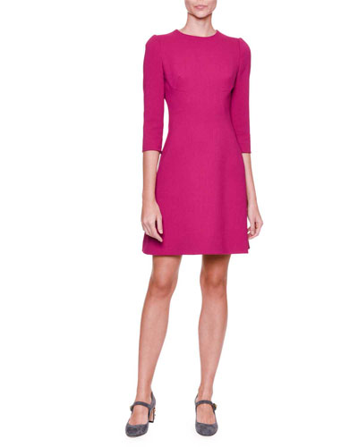 3/4-Sleeve A-Line Dress, Magenta
