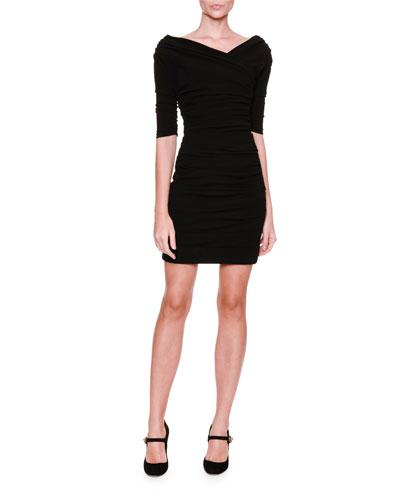 Off-The-Shoulder Ruched Dress, Black