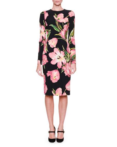 Long-Sleeve Tulip-Print Dress, Black/Rose Pink