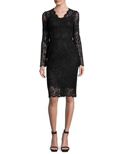 Lace Long-Sleeve V-Neck Sheath Dress, Black