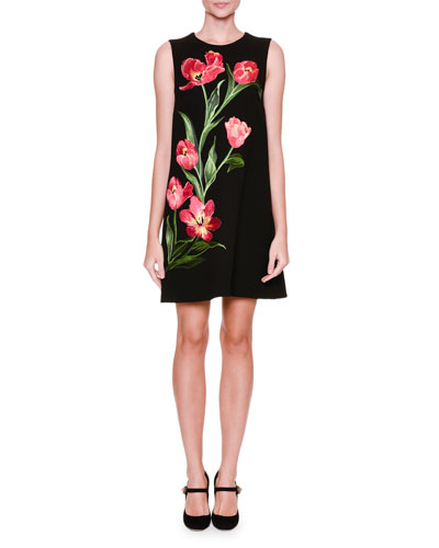 Sleeveless Tulip-Appliqué Shift Dress, Black/Bright Pink