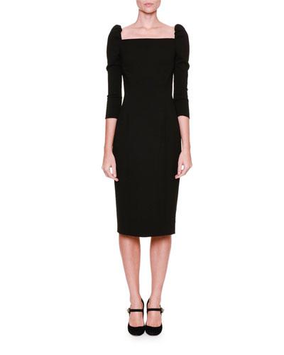 3/4-Sleeve Square-Neck Dress, Black