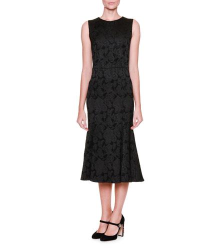 Flounce-Hem Floral Midi Dress, Black
