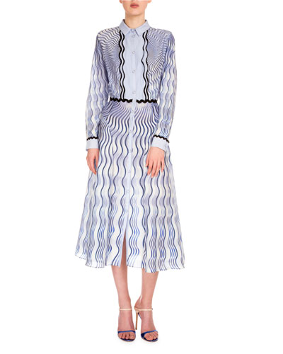 Long-Sleeve Wavy-Print Shirtdress, Snuffbox/Blue