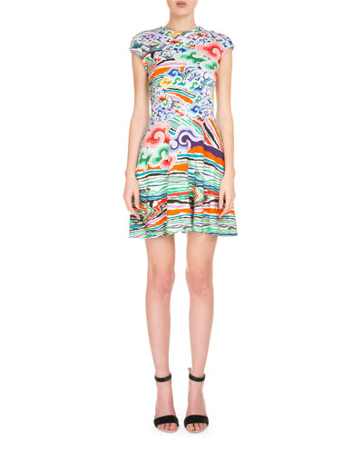 Cap-Sleeve Jewel-Neck Printed Dress, Rainbow Cloud