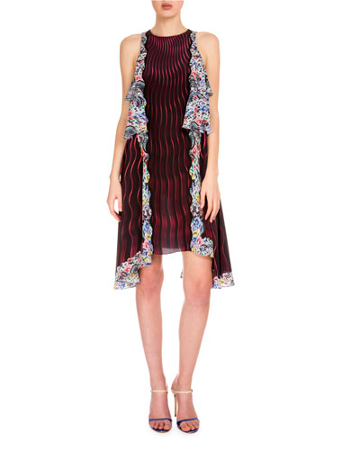 Wavy-Print Dress W/Tiered Ruffles, Snuffbox/Red
