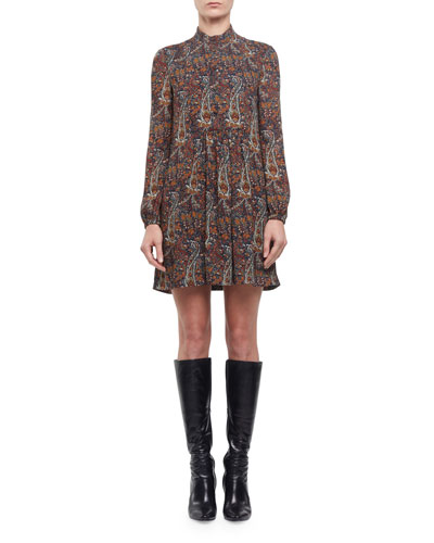 Paisley Long-Sleeve Babydoll Mini Dress