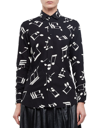 Button-Front Musical Notes Shirt, Black/Off White