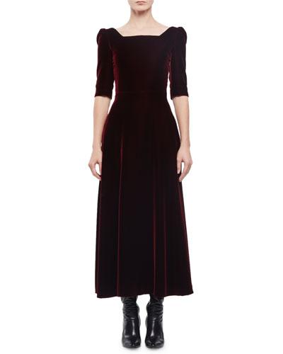 Half-Sleeve Square-Neck Velvet Midi Dress, Bordeaux