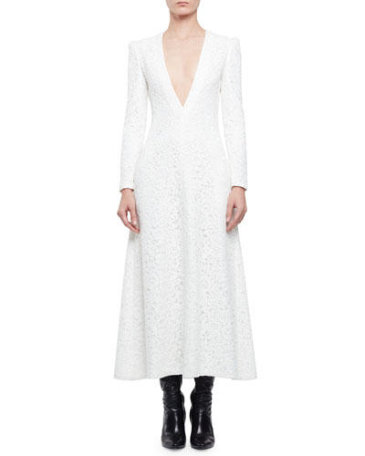 Long-Sleeve Plunging V-Neck Long Dress, Shell White