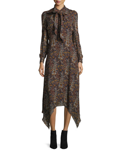 Paisley-Print Tie-Neck Handkerchief Dress, Multi