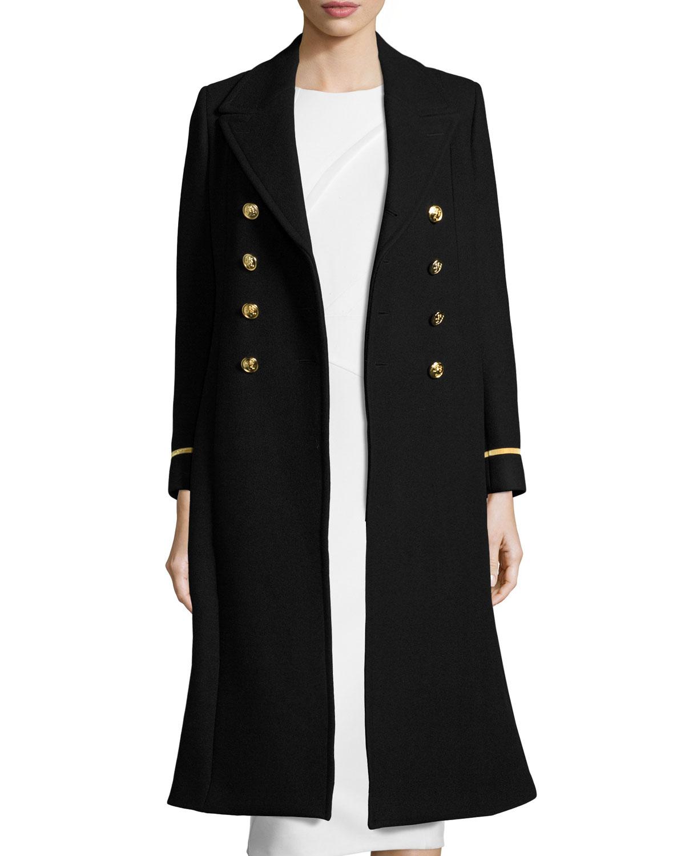 Lion-Button Long Military Coat, Black/Gold