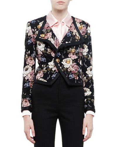 Spencer Floral-Print Jacket, Beige Rose/Black