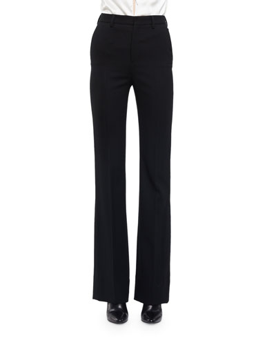 Slightly Flared High-Waist Pants, Black