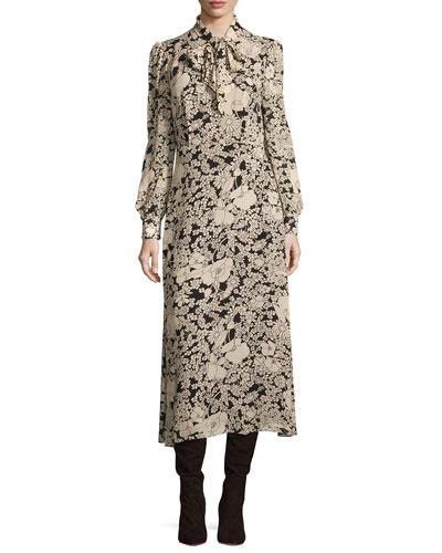 Long-Sleeve Tie-Neck Floral-Print Shirtdress, Black/Vanilla