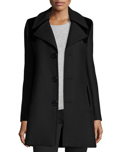 Western-Yoke A-Line Wool Coat, Black