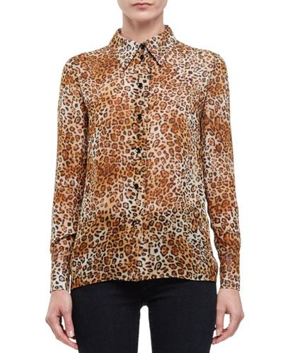 Leopard-Print Button-Front Blouse, Fauve