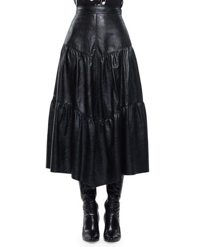 High-Waist Tiered Leather Skirt, Black