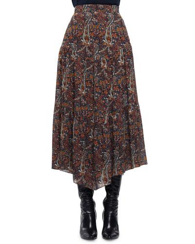 High-Waist Paisley-Print Skirt, Multi Colors