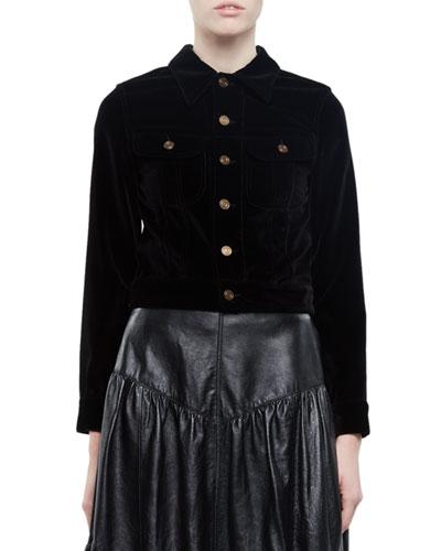 Embellished Cropped Velvet Jacket, Black