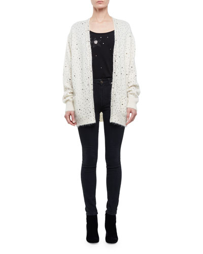Open-Front Embellished Cardigan, Natural