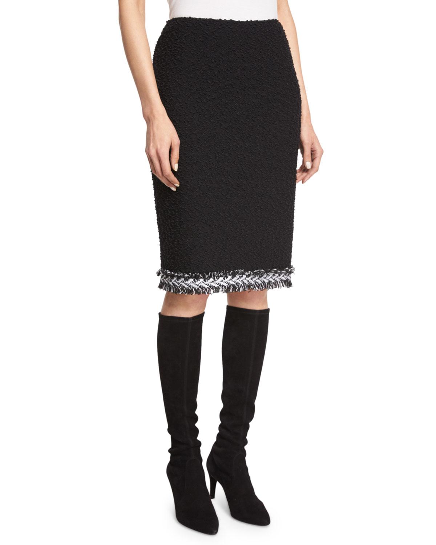 Fringe-Trim Boucle Pencil Skirt, Caviar/Frost
