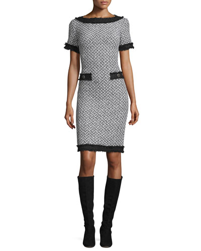 Tweed Short-Sleeve Dress, Frost/Caviar