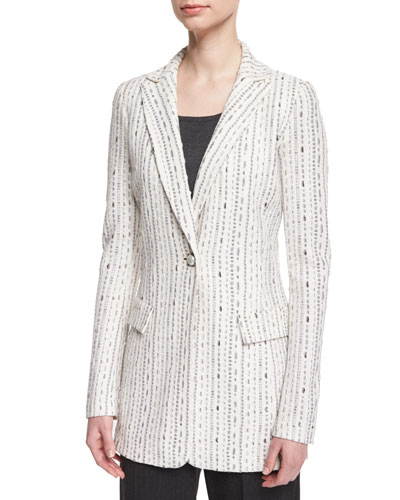Anva Stitched One-Button Jacket, Frost/Multi