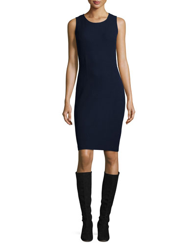 Milano Knit Sheath Dress, Navy