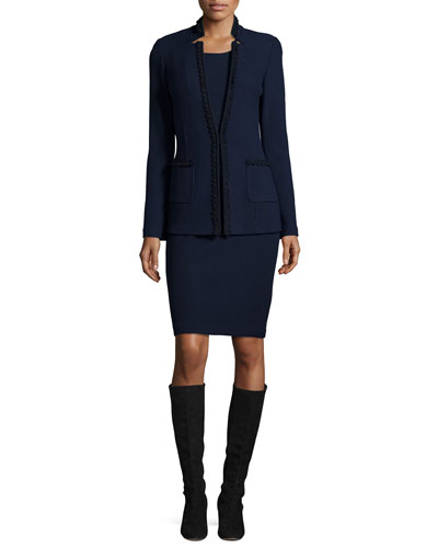 Micro-Boucle Notch-Collar Jacket, Navy