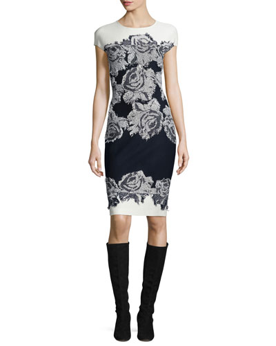Nadia Floral Knit Cap-Sleeve Dress, Frost/Navy