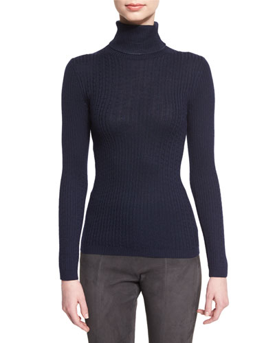 Cable-Knit Turtleneck Sweater, Navy