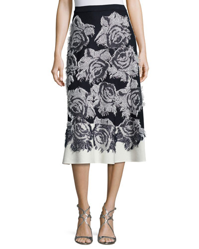 Nadia Rose-Print Flared Midi Skirt, Frost/Navy
