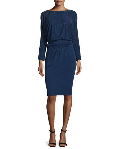 Sequined Long-Sleeve Blouson Dress, Ink