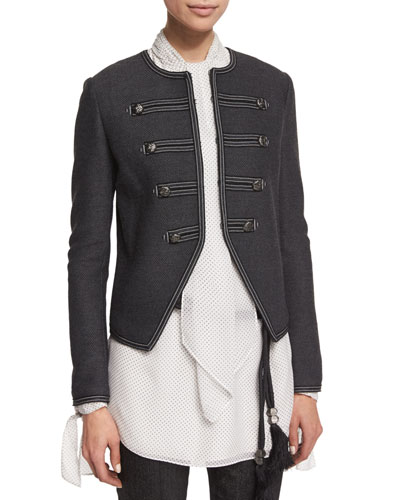 Lattice Pique Knit Jacket, Hematite Melange