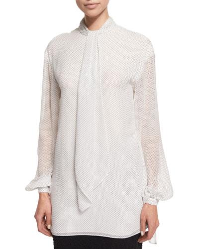 Dot-Print Tie-Neck Blouse, Frost/Caviar
