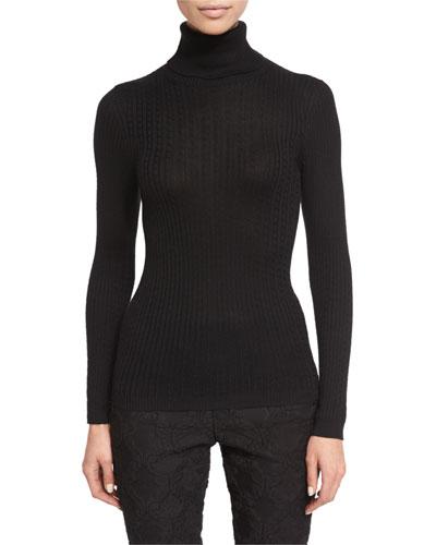 Cable-Knit Turtleneck Sweater, Caviar