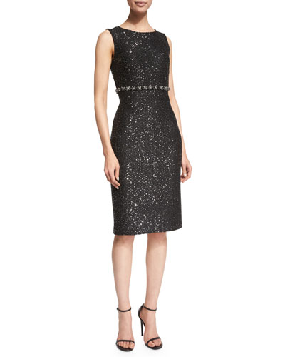 Spangle Knit Sleeveless Sheath Dress, Caviar