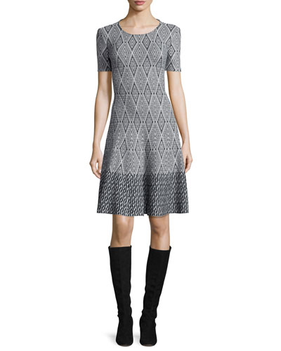 Diamond-Jacquard Fit-&-Flare Dress, Hematite/Frost