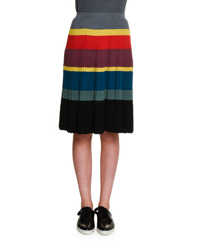 Colorblock-Striped Pleated Skirt, Multi Colors